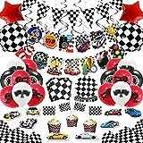 Juego de 97 piezas de suministros de fiesta de cumpleaños para coche de carreras y rallye para decoración de fiesta de cumpleaños para niño incluido Banner Globos de mesa, tazas de servilletas