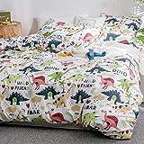 Luofanfei Bettwäsche Dinosaurier 135x200 Kinder Bettwäsche Jungen 2 Teilig Niedlich Tiere Muster Mädchen Jugendliche Cartoon Dino Kinderbettwäsche Set Microfaser (XKL-Weiß, 135 x 200 cm 80 x 80 cm)