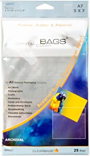 ClearBags 5x7 Seal Top Closure Bags, Perfect Fit for 5x7 Photos, Art Prints, Pictures, Posters | Resealable Adhesive on Bag, Not Flap | Crystal Clear Acid Free, Archival Safe | RPA5X7 Pack of 25