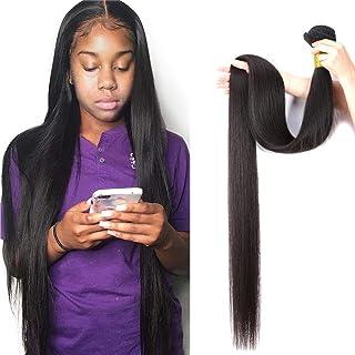 10A Straight Human Hair Bundle 100% Virgin Brazilian Hair 1 Single Bundle 36 Inch Straight Weave Hair Human Bundle Natural Color Unprocessed Remy Hair Bundle(36 inch)