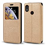 CAT S52 Case, Wood Grain Leather Case with Card Holder and