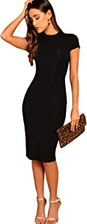 Verdusa Women's Mock Neck Cap Sleeve Solid Bodycon Pencil Dress