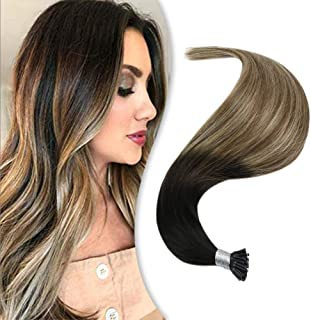 Youngsee 20inch Itip Hair Extensions Natural Human Hair Ombre Darkest Brown to Medium Brown with Golden Blonde Pre Bonded Human Hair Extensions 50gram Per Pack
