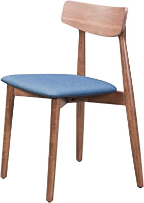 America Luxury - Chairs Modern Contemporary Urban Side Dining Chair, Set of 2, Walnut Brown Blue, Poly Linen Fabric Wood,