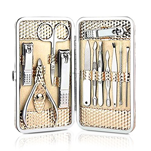 Nail Clippers Care Personal Manicure Pedicure Tools Kit Finger Toe Clipper Set with Scissors Calipers Filers Nippers Cuticle Pushers Cutters Trimmers Stainless Steel 12Pcs -- Coslife (Golden)