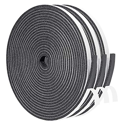 Yotache Foam Weather Stripping 1/4 Inch Wide X 1/8 Inch Thick Total 50 Ft Long, High Density Foam Insulation Soundproofing Strips Tape Seal for Doors and Window, Sliding Door, 3 Strips X 16.5 Ft Each