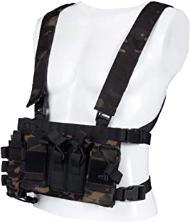 Trido Chest Rig Tactical Airsoft,Molle Multicum Paintball Rigs Police Pistol Harness Holster Holder Bag Vest for Men Hunti...