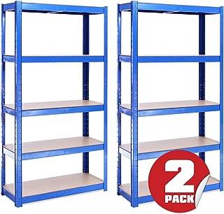 G-Rack Estantería de Almacenamiento para Garaje 2 Piezas 5 Estantes, Azul, 150 x 75 x 30 cm