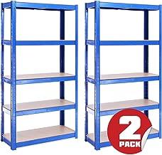 G-Rack 0020 Estantería de Almacenamiento para Garaje (2 Piezas) – 5 Estantes (175KG de Carga Cada Balda) – Capacidad para 875KG – Muy Resistente, Azul, 150cm x 75cm x 30cm
