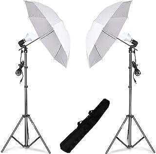 HIFFIN® E27 Studio Single Holder KIT Umbrella White + Studio Light Stand 9 FT + Umbrella and Bulb Holder KIT Set of 2 (2 S...