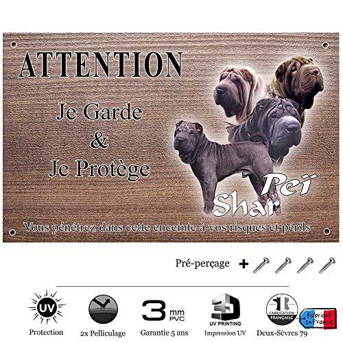 Pets-Easy.com Panneau Attention au Chien personnalisée shar pei - pré perforée et vis livrées. De 30 cm à 15 cm…