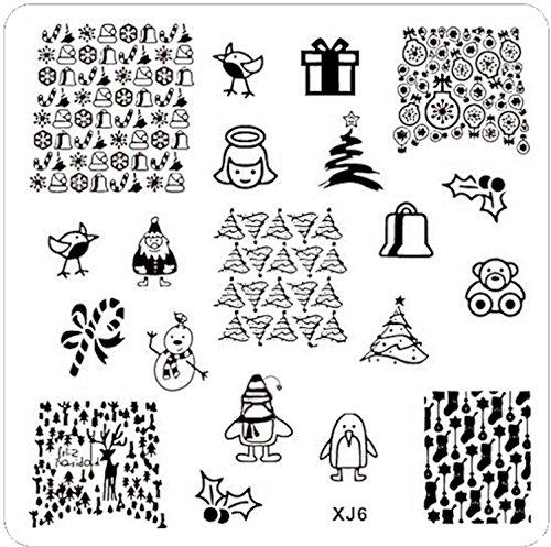 STAMPING-SCHABLONE # XJ-6 Weihnachten, Engel, Weihnachtsmann, Weihnachtsbaum, Teddy, Feliz Navidad, Zuckerstange, Rentier, Pinguin