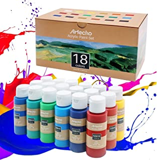 Artecho Acrylic Paint Set, 18 Color 2 Oz Basic Acrylic Paint Supplies for Wood, Fabric, Crafts, Canvas, Leather&Stone