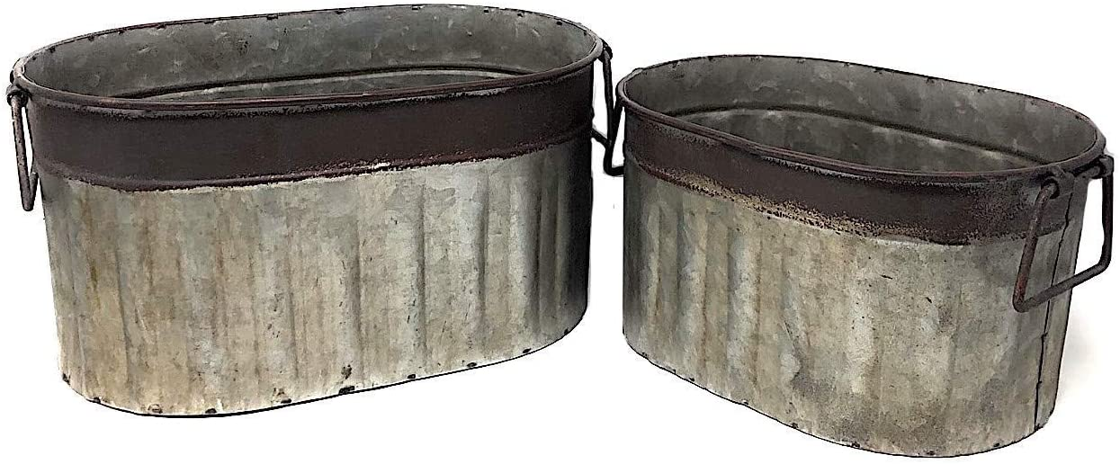 Decorative Metal ギフト プレゼント ご褒美 Containers Distressed 蔵 Tub Pantry Bucket Kitchen