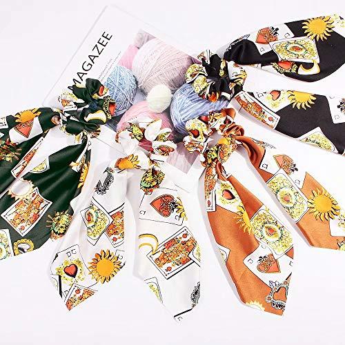 Big Bargain Store 2 in 1 Design Haargummis Bowknot Long Silk Satin Elastic Haarbänder Haarschleife Pferdeschwanzhalter Zubehör für Frauen Mädchen - 4 Farben Scrunchy Haarseilbinder Poker