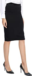 Women's Elastic Waist Stretch Bodycon Midi Pencil Skirt