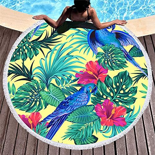 Toallas De Playa Redondas con Impresión Digital De Flores Y Plantas, Toallas De Microfibra, Tapetes De Playa Absorbentes De Secado Rápido, Tapetes De Picnic 150 * 150cm