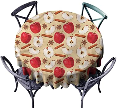 DILITECK Round Tablecloth Apple,Star Anise Cinnamon Drink Washable Tablecloth Diameter 54 inch
