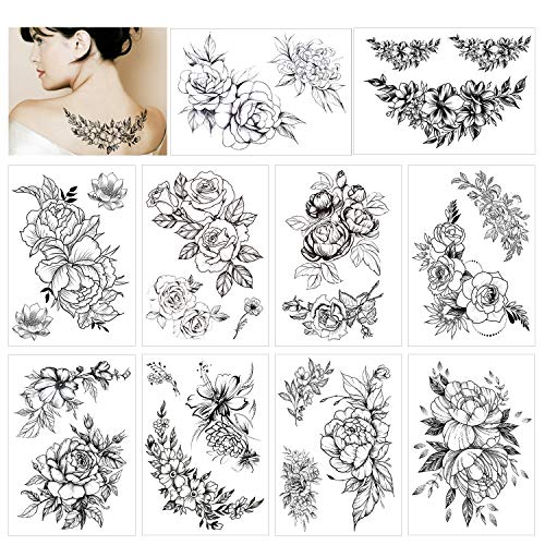 HOWAF 10 Blatt Groß Schwarz Rose Blume Temporäre Tattoos Frauen Körper Arm Beine Päonie Tattoo Aufkleber Gefälscht Wasserdicht Tätowierung Sexy Blumen Temporary Tattoos