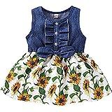 Winmany Toddler Girls Sunflower Denim Dress Newborn Baby Sleeveless Summer Princess Dresses Tutu Skirts (Flower +Green, 2-3T)
