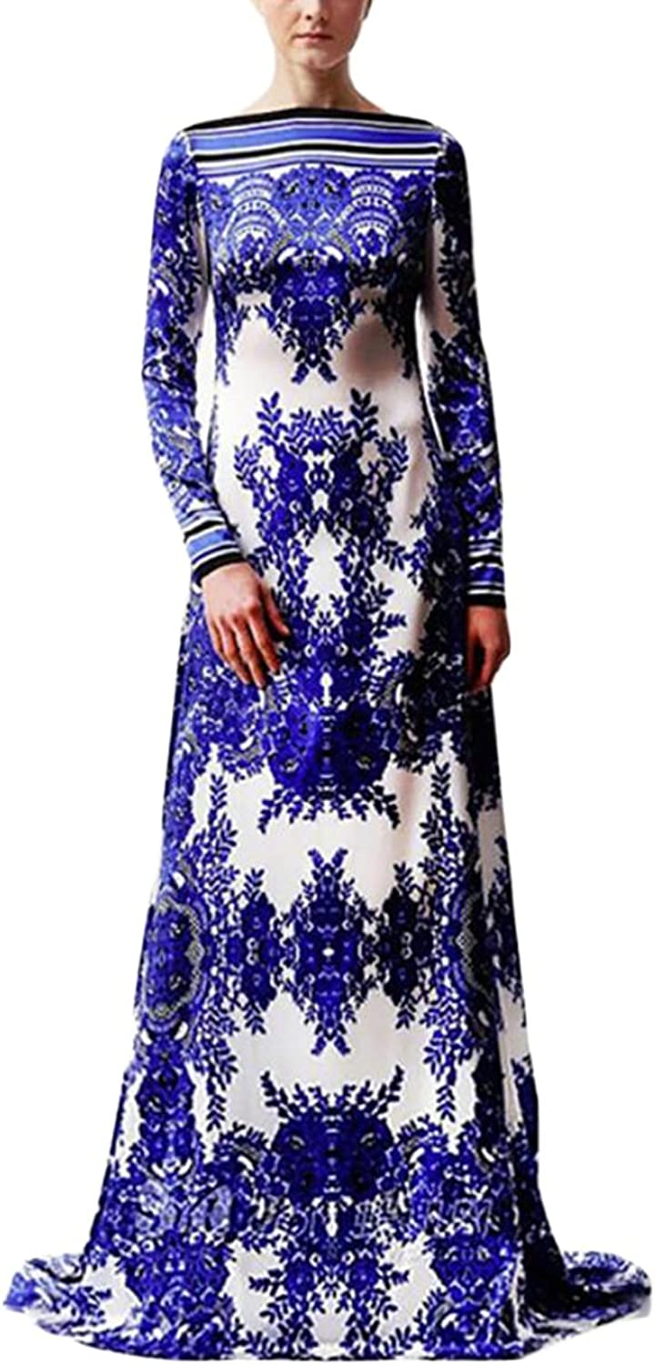 Esast Women Sexy Long Sleeve Elegant Round Round bluee and White Paint Print Aline Evening Maxi Dress