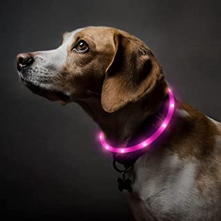 BSEEN LED Dog Collar - USB Rechargeable Glowing Pet Collar, Flexible Silicone Light Up Collars for Small Medium Large Dogs
