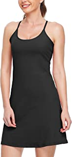 Willit Women's Exercise Dress Tennis Golf Workout Dress with Built-in Bra & Shorts Yoga Athletic Dress Pockets