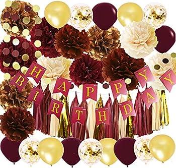 Wine Burgundy Champagne Gold Birthday Party Decorations Women/Fall Birthday Decor Happy Birthday Banner Maroon Gold Balloons Women Burgundy 30th/40th/50th Birthday Party Decorations