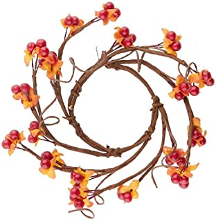 """The Country House Collection Autumn Artificial 4"""" Inner 8"""" Full Diameter Bittersweets Candle Ring"""