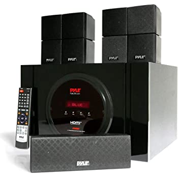 5.1 Channel Home Theater Speaker System - 300W Bluetooth Surround Sound Audio Stereo Power Receiver Box Set w/ Built-in Subwoofer, 5 Speakers, Remote, FM Radio, RCA - Pyle PT589BT (Renewed)