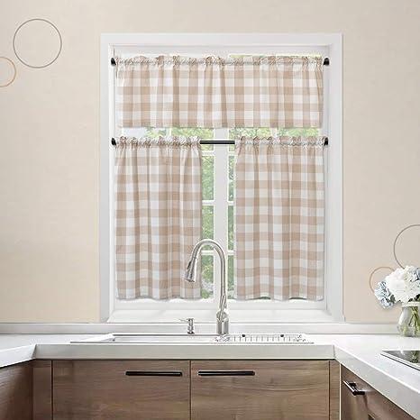 Amazon Com Natus Weaver 3 Pc Cotton Classic Country Farmhouse Kitchen Window Curtain Beige White Buffalo Check Tier Valance Set 54 X 18 27 X 36 Home Kitchen