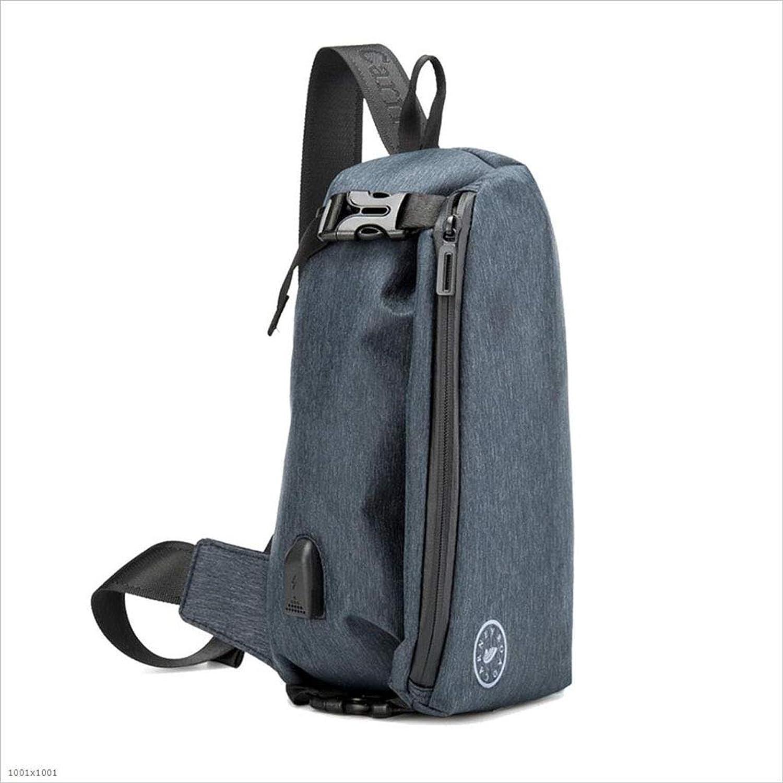 DABUOT Herren-Tragetasche Schultergurt Mit USB-Ladegerät Port-Beutel Sling Bag Mit Kopf Kopf Kopf Hörer Loch,Blau B07HFW5XGN  Sofortige Lieferung 175550