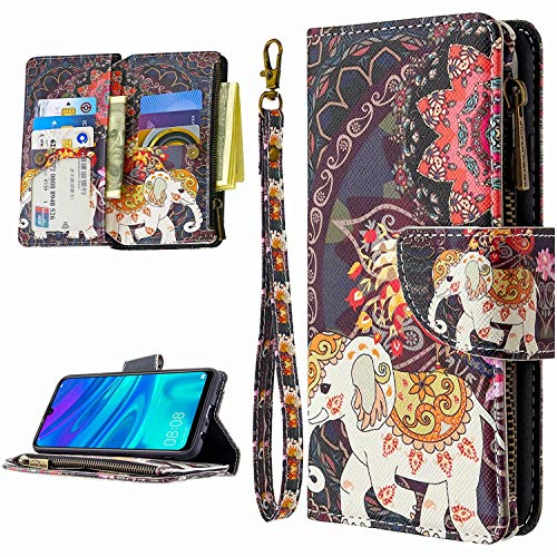 Miagon 9 Card Slots Wallet Case for Huawei Y7 2019,Colorful Zipper Wallet Cover PU Leather Magnetic Flip Folio Wrist Strap Stand Protective Bumper,Elephant Flower
