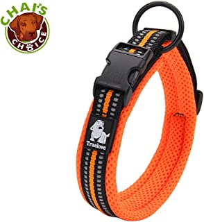 Chai's Choice Best Padded Comfort Cushion 3M Reflective Dog Collar for Small, Medium, and Large Dogs and Pets. Perfect Match for Our Harness and Leash. Please use Sizing Chart at Left!