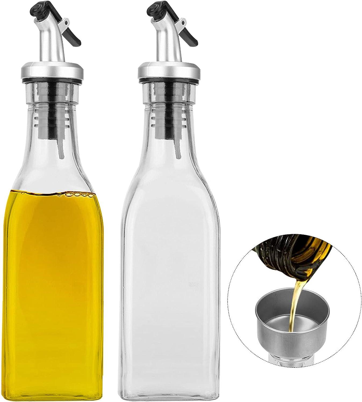 Dispensador De Aceite,200ml*2 PCS Aceitera Antigoteo Cristal Jarras de Vinagrera para Cocinar Ensalada Barbacoas Pasta