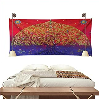 W Machine Sky Ethnic Wall Tapestry Sacred Bodhi Tree of Life Themed Eastern Spiritual Growth Ethnic Artwork Print Colorful Tapestry 60W x 40L InchScarlet Blue