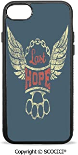 SCOCICI Non-Slip Drop Protection Smart Cell Phone Case Grunge Label Wings Chain Brass Knuckles Last Hope Quote for Bikers Compatible with iPhone 8 Plus