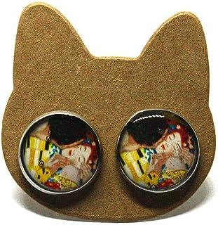 Orecchini Bacio di Klimt - Bacio di Klimt - Klimt - Orecchini a lobo - Orecchini acciaio - Orecchini donna