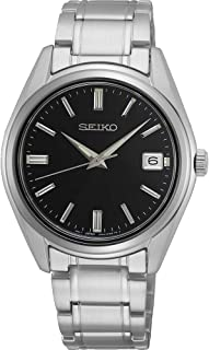 SEIKO QUARTZ GENTS STAINLESS STEEL BLACK DIAL BRACELET WATCH