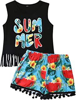 2Pcs/Set Fashion Toddler Kids Baby Girl Boy Summer Outfits Sleeveless Tassel T-Shirt Top+Floral Shorts Clothes Set 6M-5T