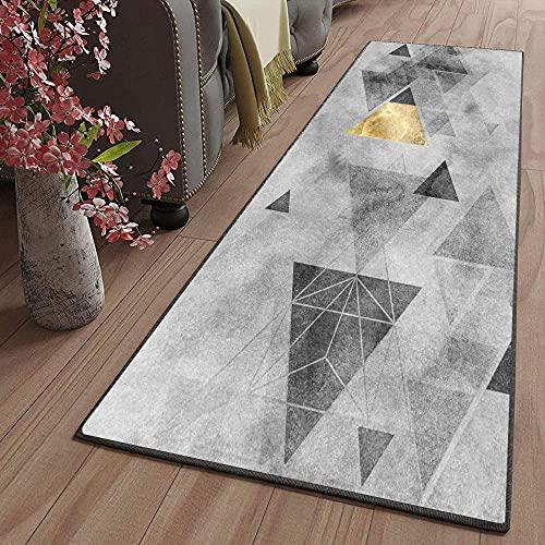 Tappeto passatoia Fantasia Antiscivolo Lavabile Triangolo grigio 140X300CM Rettangolo