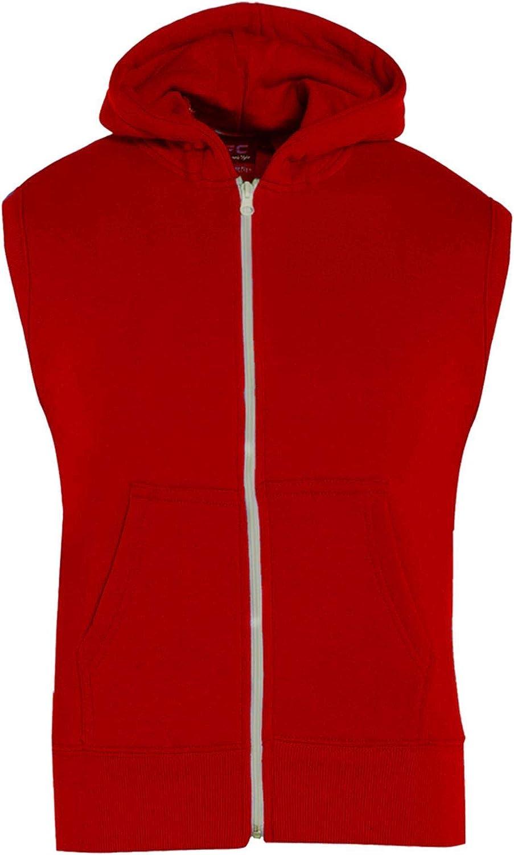 Kids Girls Boys Plain NEW before selling ☆ Gilet Red Direct store Fleece Zipper Sleeveless Hoodie