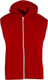 Kids Girls Boys Plain Gilet Red Fleece Hoodie Zipper Sleeveless Jacket 7-13 Year