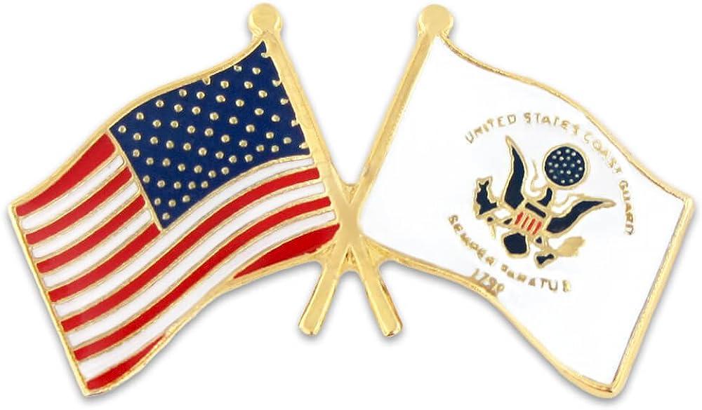 PinMart USA and US Coast Guard Crossed Friendship Flag Enamel Lapel Pin
