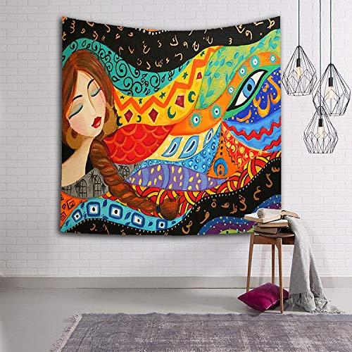 N / A Poliéster Indio niña Mandala Tapiz Hippie Colgante de Pared Tapiz Puerta Cortina Colcha Toalla de Playa decoración del hogar Tapiz A9 73x95cm
