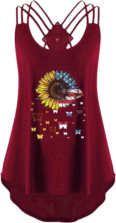 FABIURT Women Tank Tops, Womens Crop Top Sunflower Printed Workout T Shirts Sleeveless Casual Loose Camisole Tank Blouse
