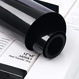 "ARHIKY Iron on Heat Transfer Vinyl Roll HTV (12"" x6',Black)"