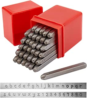 PandaHall Elite 36 Pcs 3mm Letter and Number Metal Stamp Set, Alphabet A-Z and Number 0-9, Iron Lowercase Stamps Punch Pre...