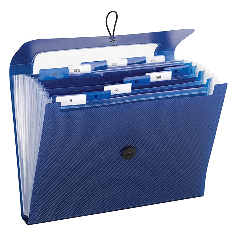 Smead 70907 Step Index Poly Organizer, 12 Pockets, Flap and Cord Closure, Letter Size, Navy Blue, 2 per Pack