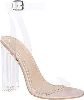 Klaur Melbourne Women Transparent Block Heel and Strap Sandals 3.5 Inch Heel S125